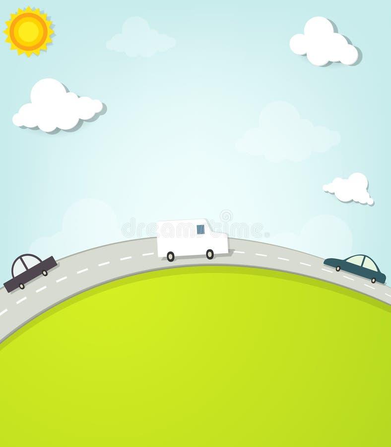 Samochody na drodze ilustracji