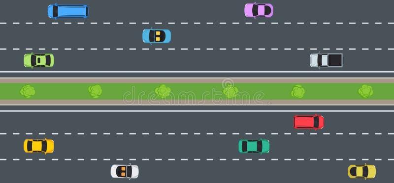 Samochody na drodze, odgórny widok royalty ilustracja