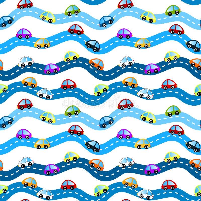 Samochody na drogi bezszwowym tle royalty ilustracja