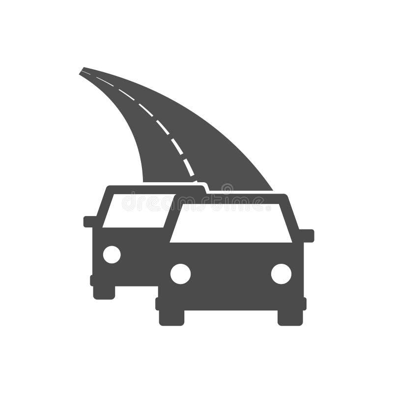 Samochody na drogowej ikonie ilustracja wektor
