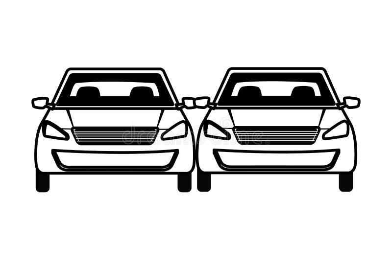 Samochody odtransportowywają sedanów pojazdów kreskówkę ilustracji