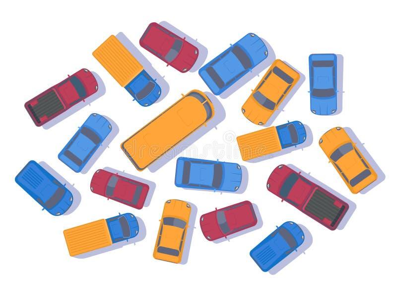 samochody są zajęte bezszwową asfaltowi ruchem tapetę wektora Wielki przekrwienie samochody Odgórny widok royalty ilustracja