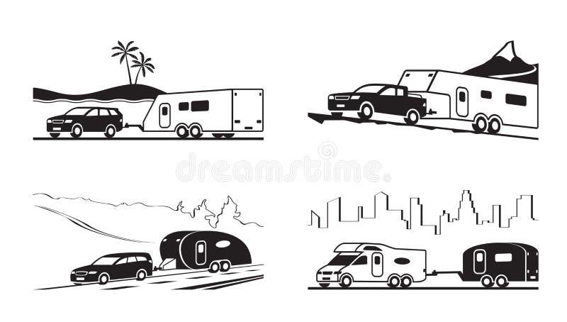Samochody z karawanami i obozowiczem ilustracja wektor