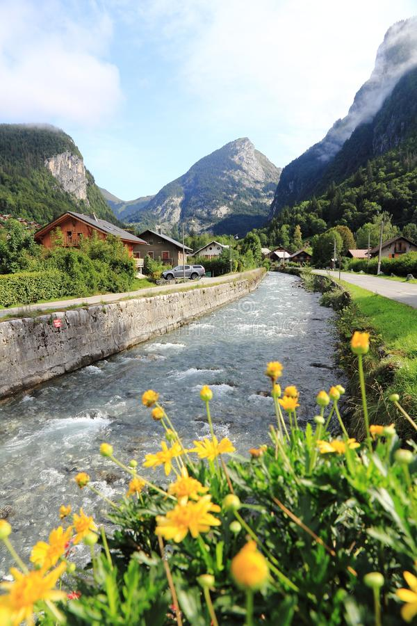 Samoens in the French Alps. Magnifient village in the Alps, Haute-Savoie royalty free stock photo