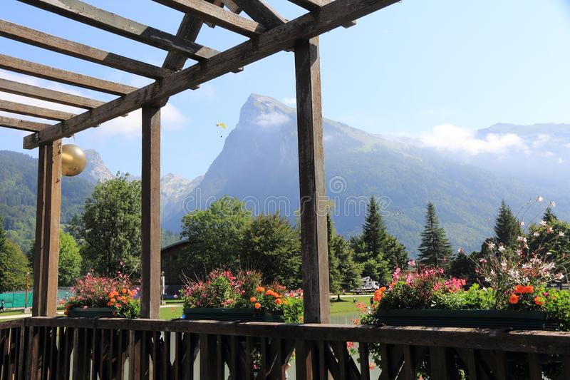 Samoens in the French Alps. Magnifient village in the Alps, Haute-Savoie stock photography