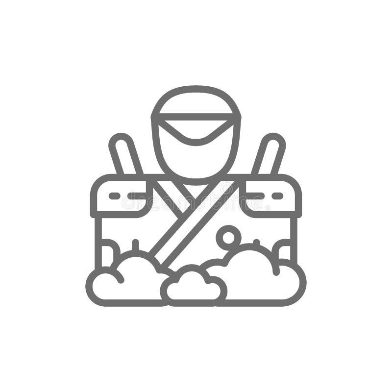 Samoeraien met twee zwaarden, Japanse strijder, het pictogram van de spionlijn royalty-vrije illustratie