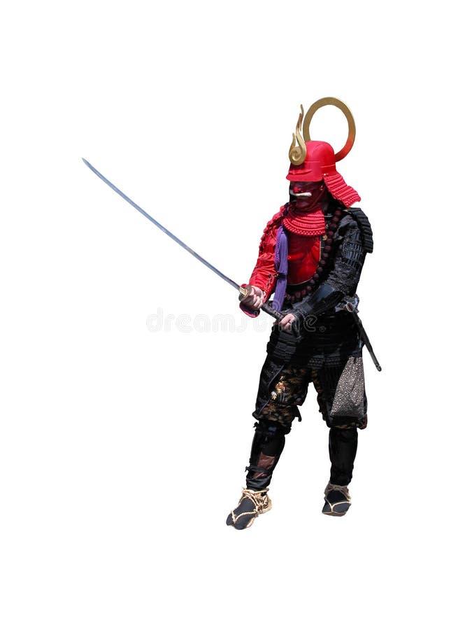 Samoeraien met zwaard-bestrijdende po royalty-vrije stock fotografie