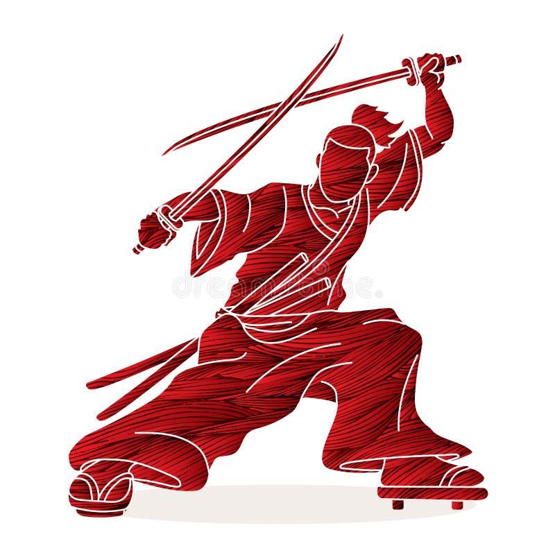 Samoeraien status klaar om met grafisch zwaardenbeeldverhaal te vechten vector illustratie