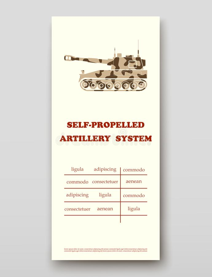 Samojezdny artyleryjski system ulotki pokrywy prezentacji abstrakt, układ technologii sprawozdania rocznego broszurki wielkościow ilustracja wektor