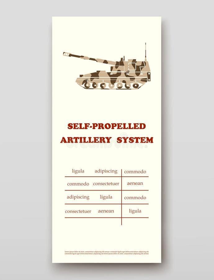 Samojezdny artyleryjski system ulotki pokrywy prezentacji abstrakt, układ technologii sprawozdania rocznego broszurki wielkościow royalty ilustracja
