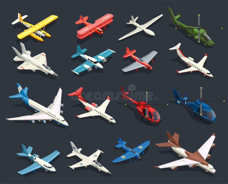 Samolotów helikopterów Isometric ikony royalty ilustracja