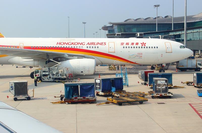 Samolot Aerobus 330-300 HongKong linii lotniczych obrazy royalty free
