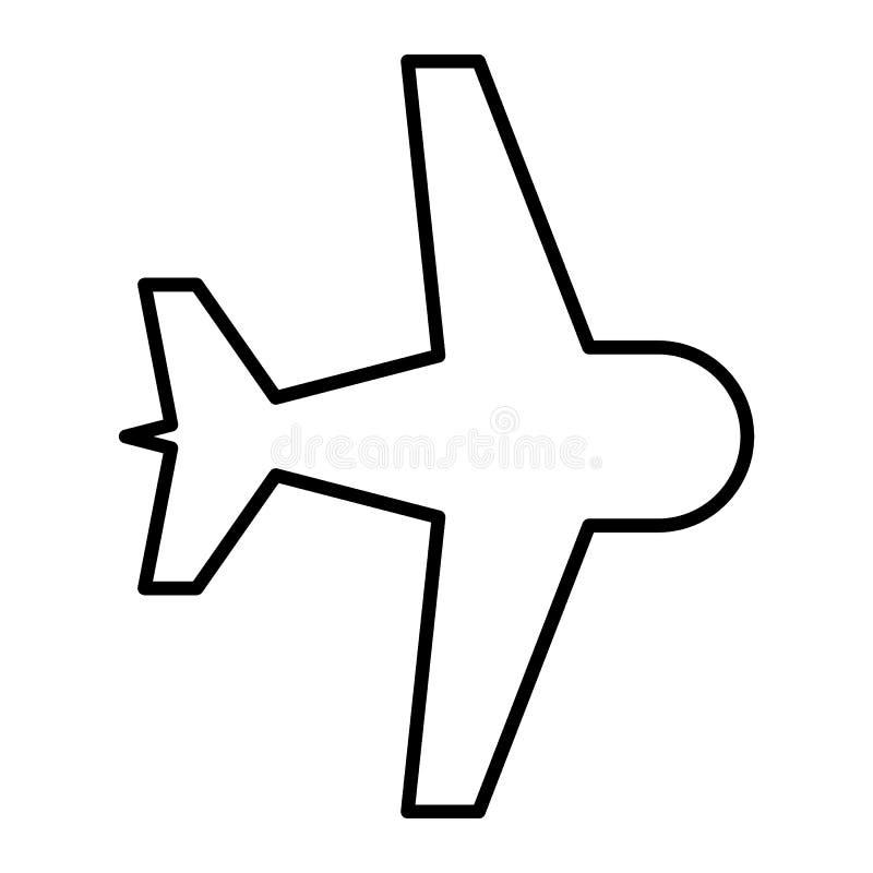Samolot cienka kreskowa ikona Płaskiego wektoru ilustracja odizolowywająca na bielu Samolotowy konturu stylu projekt, projektując ilustracji