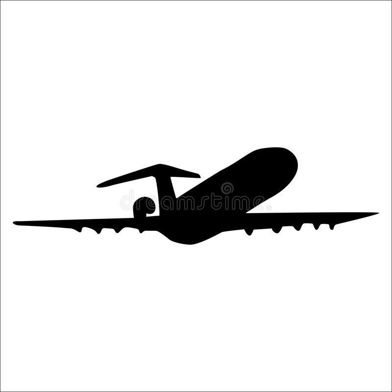 Samolot czarna sylwetka ilustracja wektor