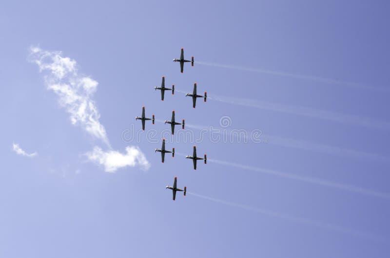 Samolot formacja, przodu puszka widok zdjęcia stock