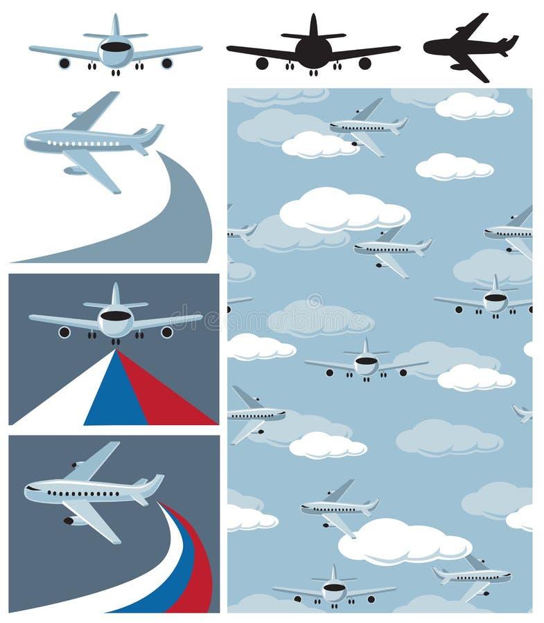 Samolot i bezszwowy wzór ilustracja wektor