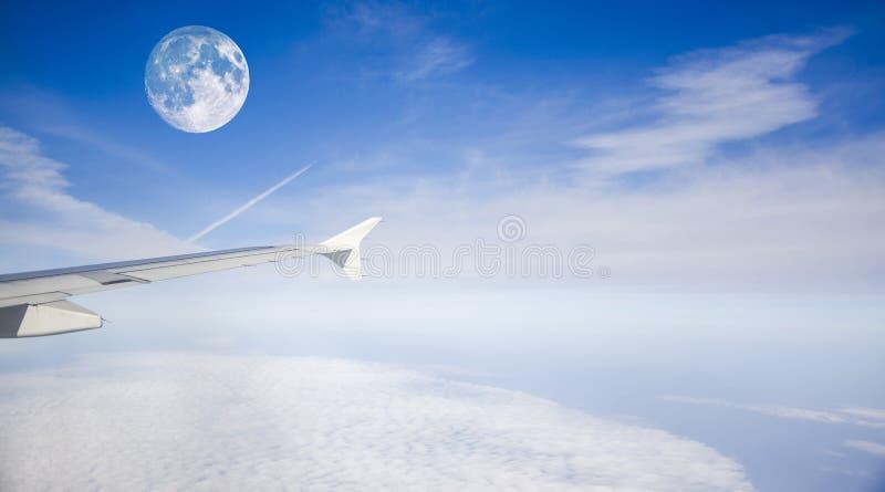 Samolot i księżyc zdjęcia royalty free