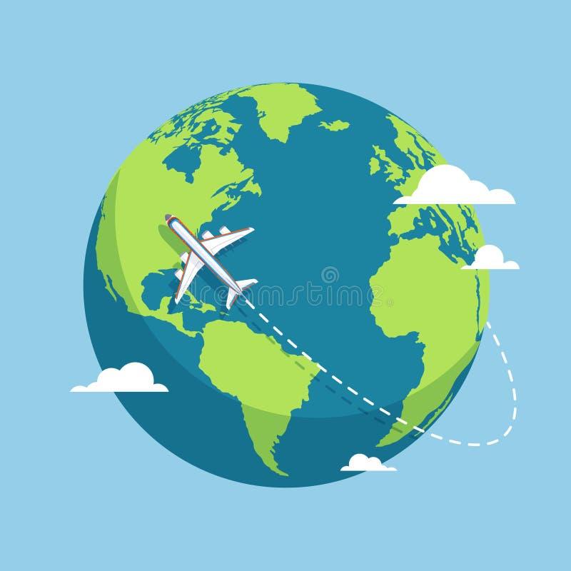 Samolot i kula ziemska Samolotu latanie wokoło Ziemskiej planety z kontynentami i oceanami Płaska wektorowa ilustracja ilustracja wektor