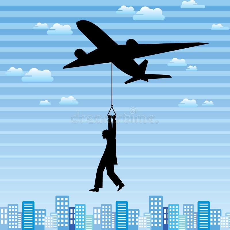 Samolot i mężczyzna w mieście royalty ilustracja