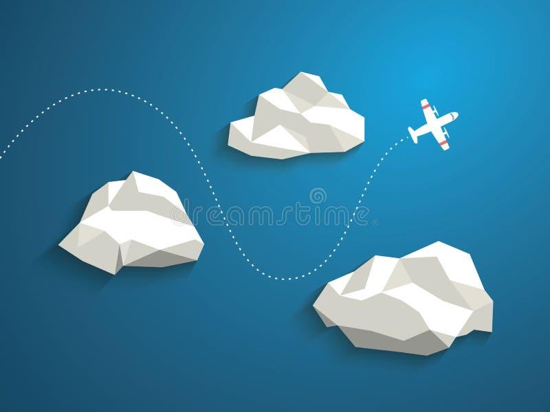 Samolot i niskie poligonalne chmury na niebieskim niebie ilustracji