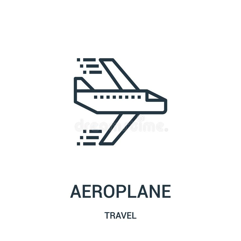 samolot ikony wektor od podróży kolekcji Cienka kreskowa samolotu konturu ikony wektoru ilustracja Liniowy symbol dla używa na si ilustracja wektor