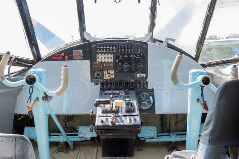 samolot kokpit, stary obrazy stock