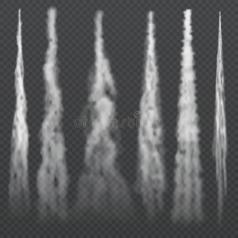 Samolot kondensaci światła dymiący ślada w niebie Dżetowy powłóczysty dym Mgłowy śladu samolot, rakietowi dymiący kiść skutki ilustracja wektor