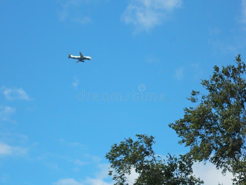 Samolot ląduje Widok spod spodu od ziemi, zdjęcie stock