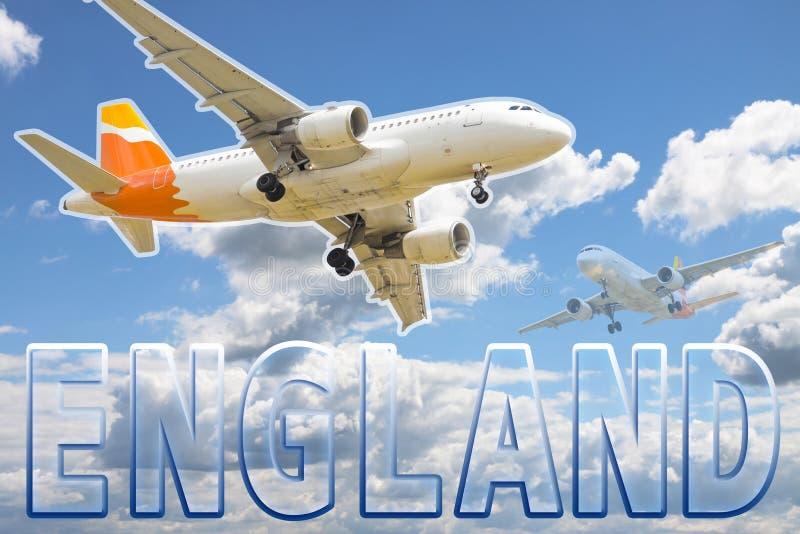 Samolot lata nad angielskimi niebami Komarnica Anglia pojęcia wizerunek obraz stock