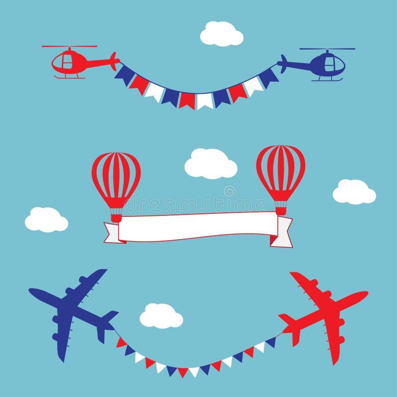 Samolot, lotniczy balony i helikoptery lata z, ilustracji