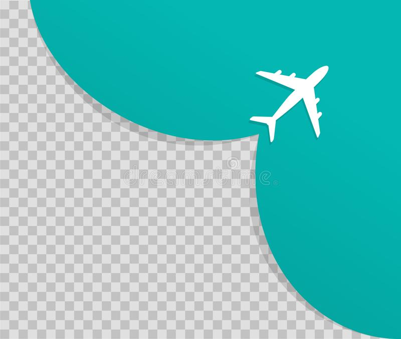 Samolot na b??kitnym tle i opr??nia miejsce dla reklamowa? Samolot bierze daleko Wektor podróży i turystyki pojęcie ilustracji