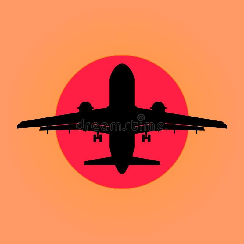 Samolot na tle zmierzch ilustracji