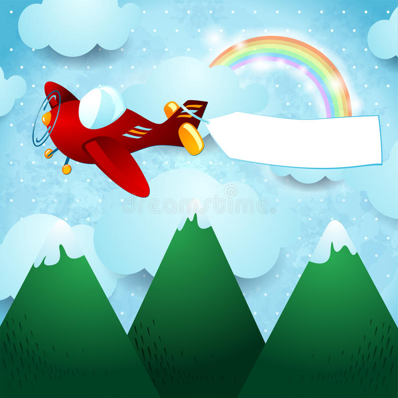 Samolot nad górą ilustracji