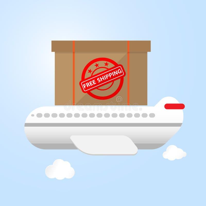 Samolot niesie towary boksuje na wierzchołek wysyłki bezpłatnym pojęciu ilustracja wektor