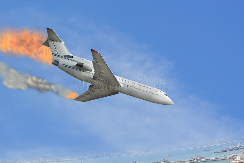samolot palił zdjęcie royalty free