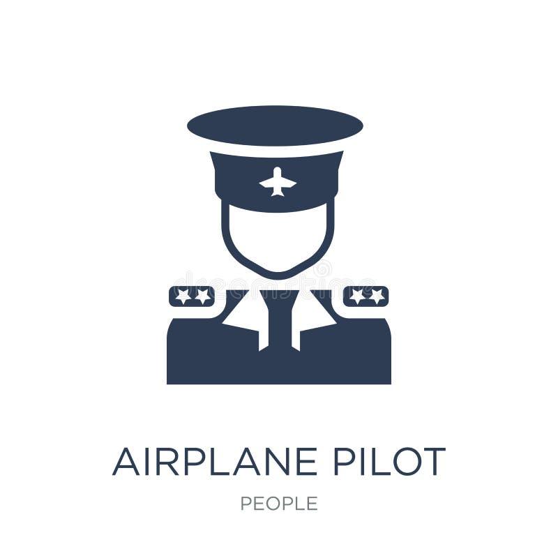 Samolot pilotowa ikona Modna płaska wektorowa samolotu pilota ikona na w ilustracja wektor