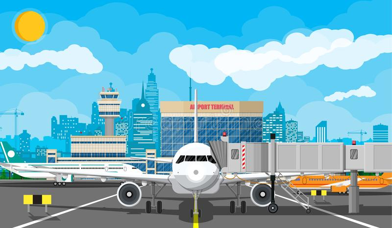 Samolot przed start royalty ilustracja