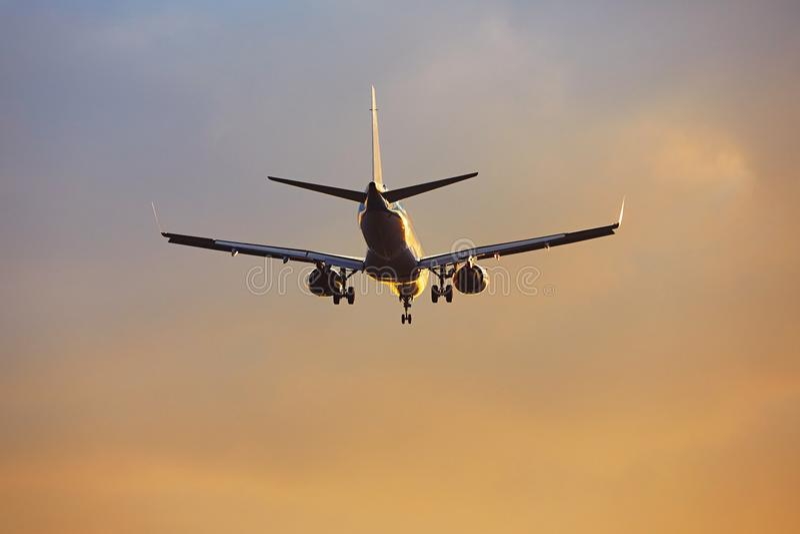 Samolot przy zmierzchem fotografia royalty free