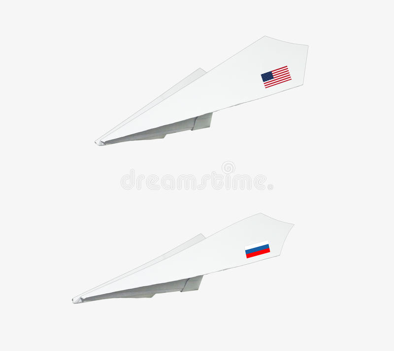 Samolot robić od papieru z flaga zdjęcia stock