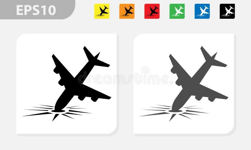 Samolot rozbija wektorowego ikony eps czerń i barwiący royalty ilustracja