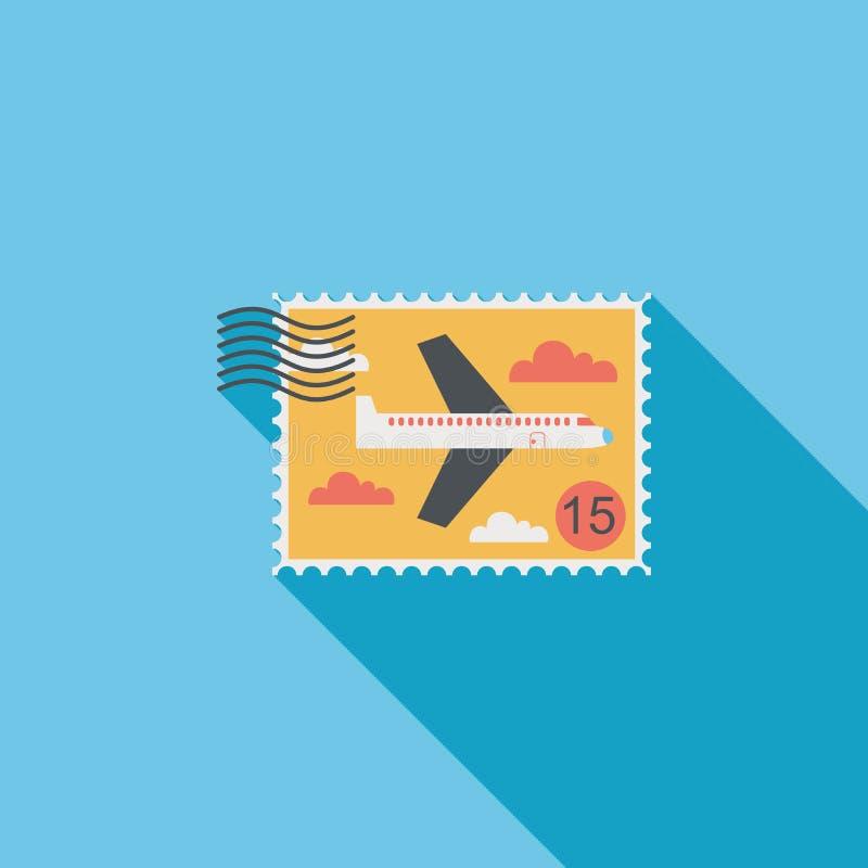 Samolot stemplowa płaska ikona z długim cieniem ilustracji