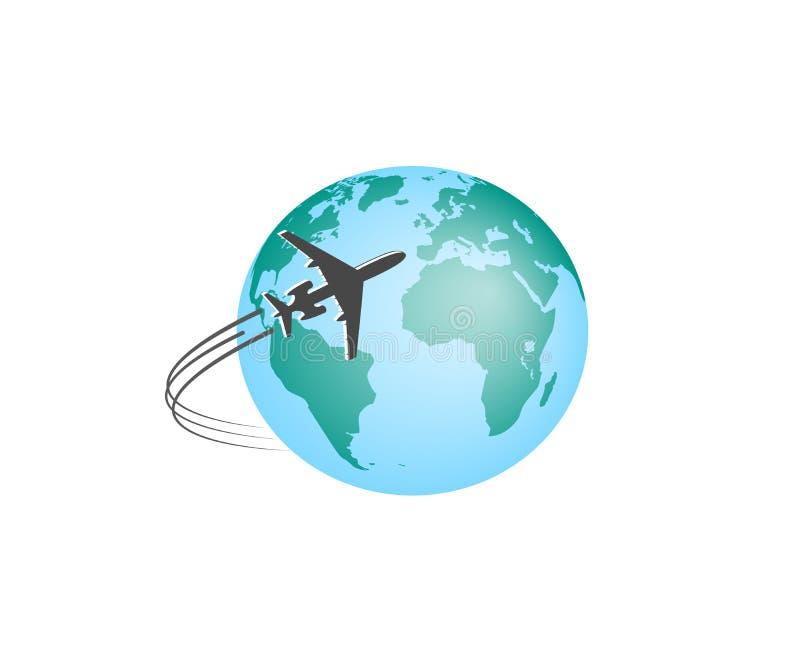 samolot Sylwetka wznosi się wokoło barwionej kuli ziemskiej Zaokrąglony samolotowy ślad r?wnie? zwr?ci? corel ilustracji wektora ilustracja wektor
