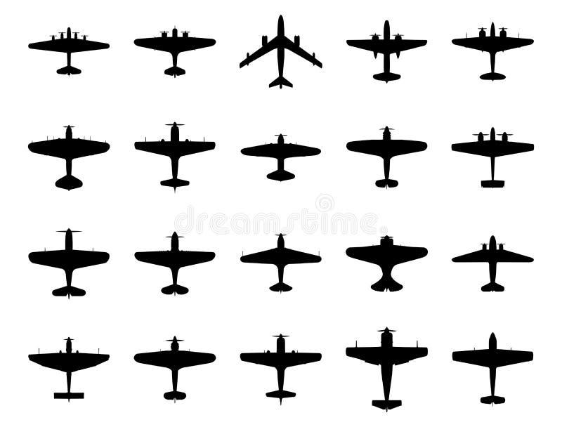 Samolot sylwetki set royalty ilustracja