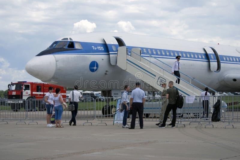 Samolot Tu-155 przy MAKS Międzynarodowym Kosmicznym salonem MAKS-2017 obraz royalty free