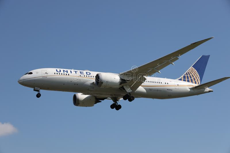 Samolot United Airlines zdjęcie royalty free