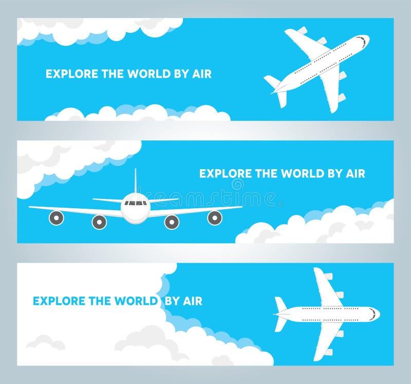 Samolot w chmurnego nieba wektoru sztandarach royalty ilustracja