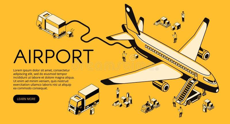 Samolot w lotniskowej wektorowej halftone ilustraci ilustracja wektor