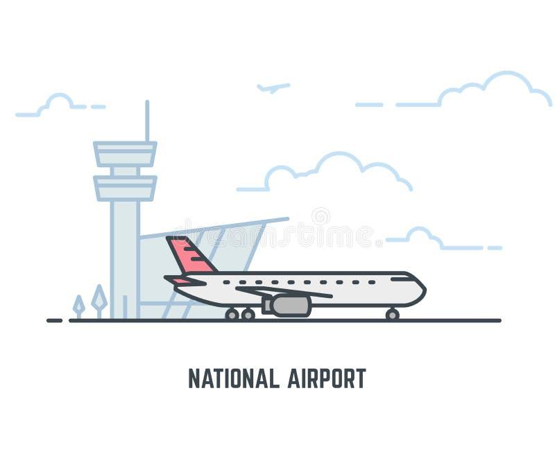 Samolot w lotnisku royalty ilustracja