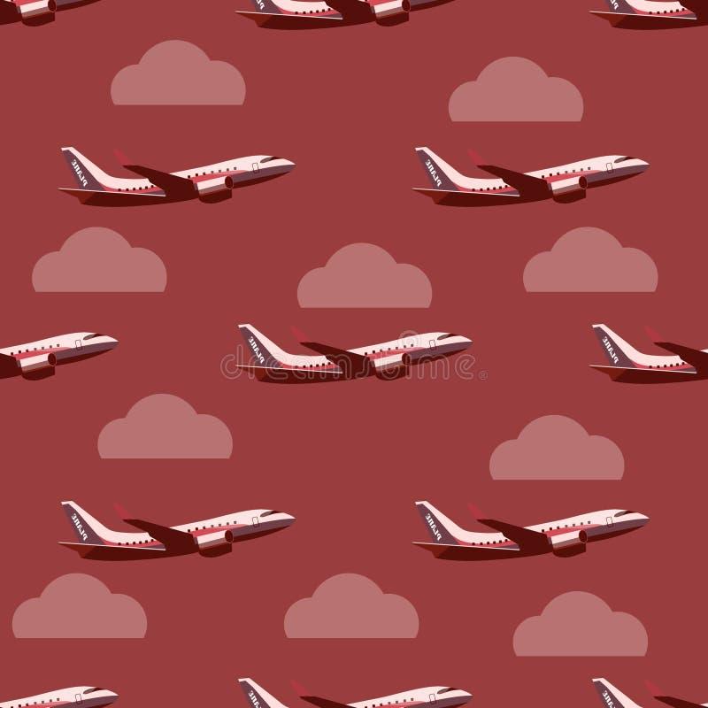 Samolot w niebo bezszwowym wzorze ilustracja wektor