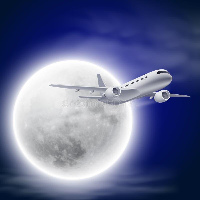 Samolot w nocnym niebie z księżyc. ilustracja wektor